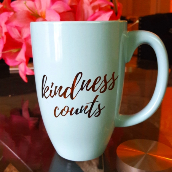 Mint green blue and gold foil kindness counts mug